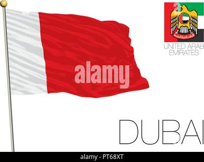 Dubai, United Arab Emirates official and regional flags, vector illustration - Stock Photo