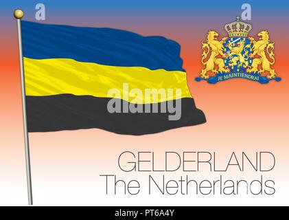 Gelderland regional flag, Netherlands, European Union, vector illustration - Stock Photo
