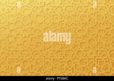 Arabic pattern background. Islamic gold ornament vector. Geometric 3d shape. Texture arabian traditional motif - Stock Photo