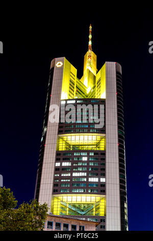 Frankfurt, Germany, October 5th, 2018 - Skycraper of the german financial institution Commerzbank in Frankfurt downtown at night - Stock Photo