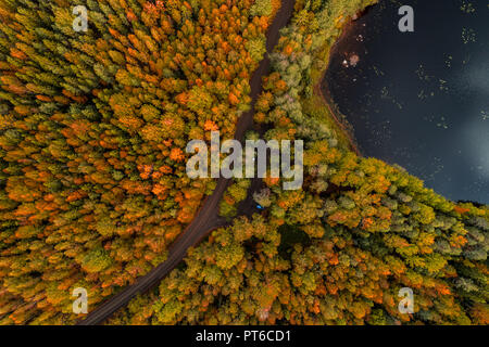 Aerial view from Liesjärvi National Park on an autumn afternoon with sun starting to go down, Finland - Stock Photo
