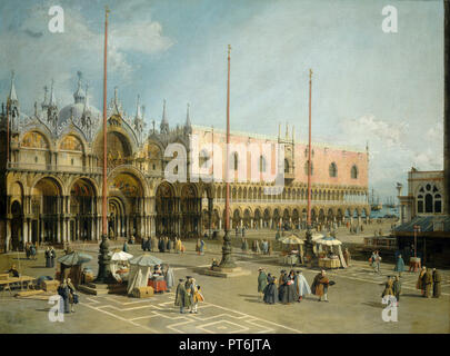 The Square of Saint Mark's, Venice. Dated: 1742/1744. Dimensions: overall: 114.6 x 153 cm (45 1/8 x 60 1/4 in.). Medium: oil on canvas. Museum: National Gallery of Art, Washington DC. Author: CANALETTO. - Stock Photo