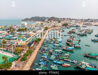 Cheung Chau Island Aerial Shot, Hong Kong - Stock Photo