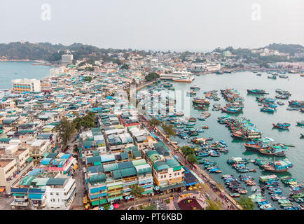 Cheung Chau Island Aerial Shot, Hong Kong - Stock Photo