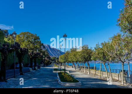 Italy, Bellagio, Lake Como, Walk of lovers, place to walk beside the lake - Stock Photo