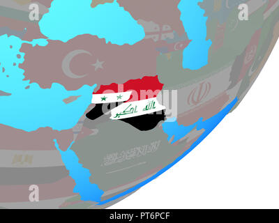 Islamic State with embedded national flag on blue political globe. 3D illustration. - Stock Photo