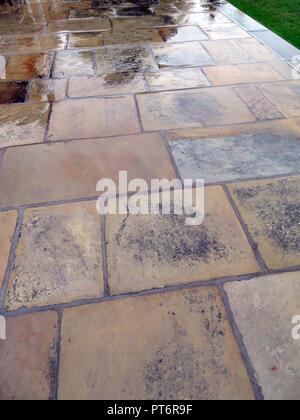 Rain on flagstones patio slabs paved area - Stock Photo