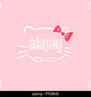 Cute smiling Hello kitty with a bow, Japanese kawaii cartoon cat character inspired sumi-e illustration white on soft baby pink background. - Stock Photo