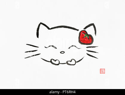 Hello kitty giggling kawaii cute cartoon character wearing a red strawberry. Artistic oriental style illustration, Japanese Zen Sumi-e ink painting on - Stock Photo