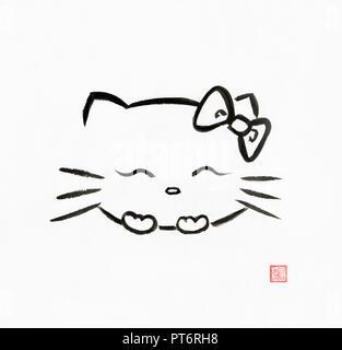 Kawaii hello kitty, happy laughing Japanese cartoon character. Artistic oriental style illustration, Japanese Zen Sumi-e ink painting on white rice pa - Stock Photo