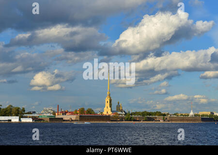 Clouds over Peter and Paul Fortress (1703-1740). Saint Petersburg, Russia - Stock Photo