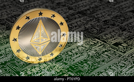 Ethereum Coin on circuit board layout - 3D Rendering - Stock Photo