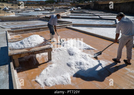 Men gathering salt at Rio Maior saltpans. The oldest document referring to these Salinas dates back to 1177, but it is believed that salt was already  - Stock Photo