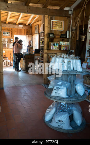Salt for sale in touristic shop at Rio Maior salinas or saltpans. The oldest document referring to these Salinas dates back to 1177, but it is believe - Stock Photo