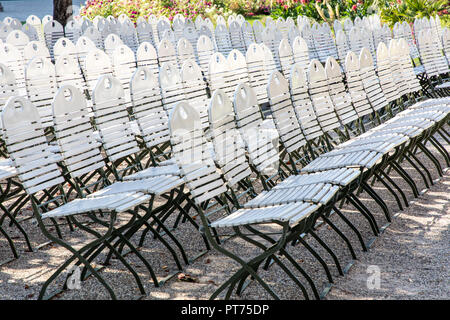 Baden-Baden, in the Black Forest, white chairs, rows of chairs in the spa gardens of the concert shell, - Stock Photo