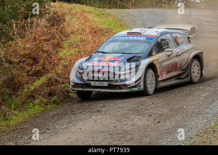 Dyfnant, UK. 6th October 2018. The Ford Fiesta RS WRC of Sebastien Ogier (France) at speed on the gravel forest roads forming Stage 14 of the 2018 Wales Rally of Great Britain, through the Dyfnant forest near Welshpool, Powys, Wales Credit: Mike Hillman/Alamy Live News - Stock Photo