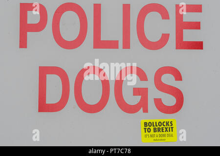 London, UK. 7th Oct 2018. Wooferendum walk - Dogs and their owners march against Brexit and the possible loss of their pet passports from Waterloo place to Parliament Square. Credit: Guy Bell/Alamy Live News - Stock Photo