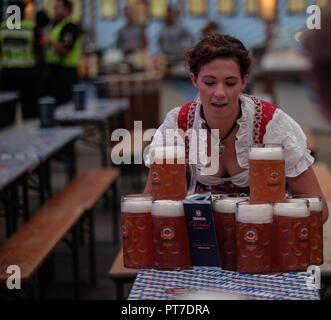London, UK. 7th Oct 2018. Queen Elizabeth Olympic park hosted The UK's one and only LGBT Pink Oktoberfest an LGBT+ day of pride and beer. Oompah bands will be replaced with lip-synching drag queens, rave karaoke and table dancing,and of course frankfurter and lots of beer .@Paul Quezada-Neiman/Alamy Live News - Stock Photo