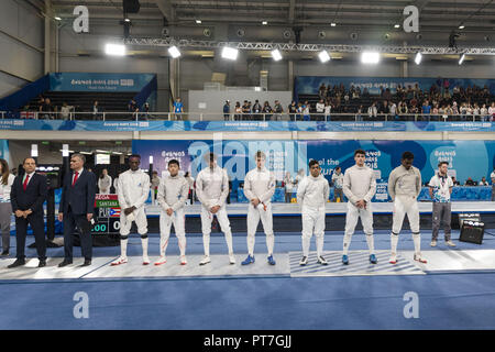 City Of Buenos Aires, City of Buenos Aires, Argentina. 7th Oct, 2018. SPORT. City of Buenos Aires, Argentina - 2018, October 7.- Fencing athletes openning the first day of Buenos Aires 2018 Youth Olympic Games at Youth Olympic Park on October 7, 2018 in City of Buenos Aires, Argentina. Credit: Julieta Ferrario/ZUMA Wire/Alamy Live News - Stock Photo