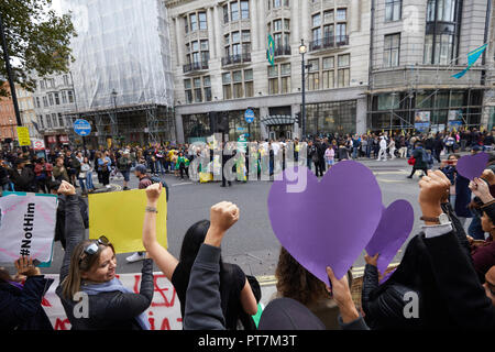 London, UK. 7th Oct 2018. A protest against Brazilian presidential candidate Jair Bolsonaro in Cockspur Street opposite the Embassy of Brazil. Credit: Kevin Frost/Alamy Live News - Stock Photo