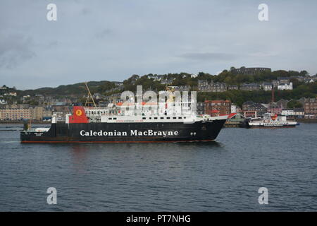 Caledonian MacBrayne ferry coming into dock at Oban West Coast of Scotland re island hopping vacations holidays method of sea travel - Stock Photo