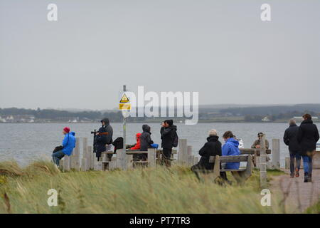 Sightseers and photographers standing and sitting at Chanonry Point Rosemarkie Fortrose looking for dolphins and sea lions at sea in the bay - Stock Photo