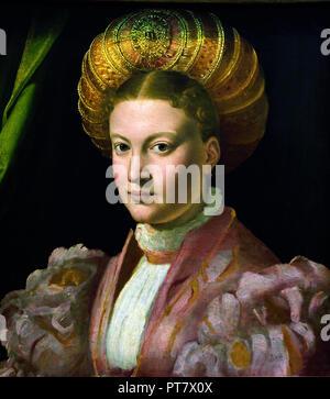 Portrait of a Young Woman 1530 Parmigianino ( Girolamo Francesco Maria Mazzola ) 1503 - 1540 Italy Italian - Stock Photo