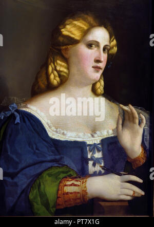 Portrait of a young woman in a Blue Dress with Fan, 1512-1514  Palma Vecchio (1480–1528) painter 15th Century Italy Italian - Stock Photo