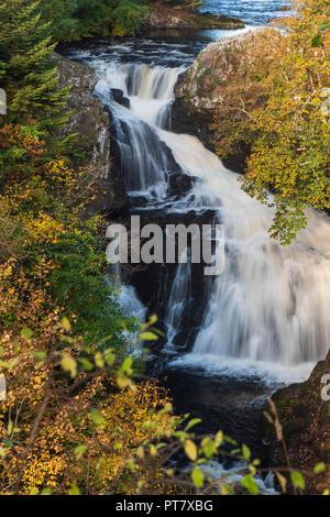 Reekie Linn waterfall on the River Isla, at Bridge of Craigisla, Angus, Scotland. - Stock Photo