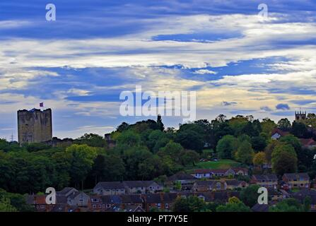 Taken to capture Conisbrough Castle, the town and St Peter's Church (the oldest building in South Yorkshire,)St Peters within one picture. - Stock Photo