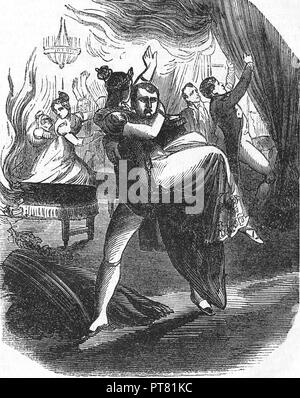 The emperor Napoleon and Empress Marie Louise escaping from a fire during a ball. 1810. Engraving, 19th century. - Stock Photo