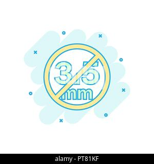 Cartoon colored audio jack 3.5mm in ban icon in comic style. 3.5mm illustration pictogram. Audio sign splash business concept. - Stock Photo