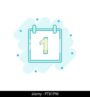 Cartoon colored calendar icon in comic style. Calendar illustration pictogram. Agenda sign splash business concept. - Stock Photo