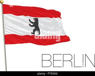 Berlin regional and lander flag, Germany, vector illustration - Stock Photo