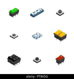 Set of different electric buttons and switches isolated on white background. Flat 3D isometric style, vector illustration. - Stock Photo