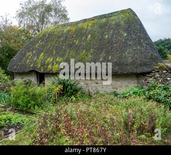 Exterior of a Crofters cottage and kitchen garden  at the Ryedale Folk Museum in Hutton le Hole North Yorkshire England UK - Stock Photo