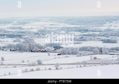 Wintry rural landscapes view with snow - Stock Photo