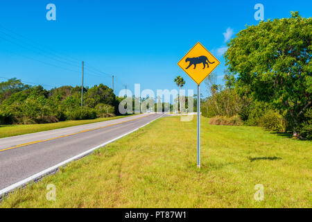 Panther Crossing Sign in Southern Florida USA - Stock Photo