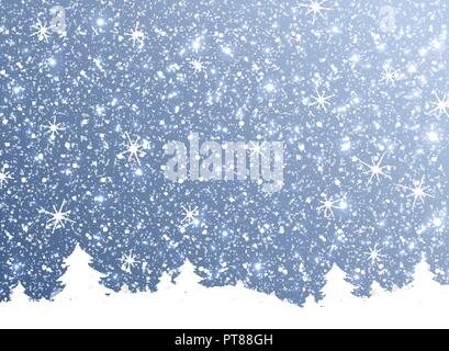 Merry Christmas of the nature snow falling from the sky on blue sky. Illustration vector eps10 - Stock Photo