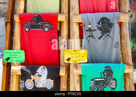 Wild boar t shirts on sale in Castellini in Chianti,Tuscany,Italy - Stock Photo