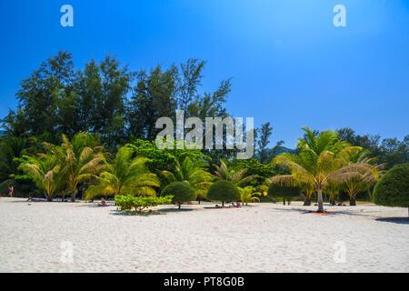 Palms and sand on Malibu Beach, Koh Phangan island, Suratthani, Thailand - Stock Photo
