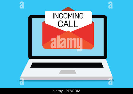 Text sign showing Incoming Call. Conceptual photo Inbound Received Caller ID Telephone Voicemail Vidcall Computer receiving email important message en - Stock Photo