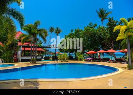 Swimming pool, Haad Yao beach, Koh Phangan island, Suratthani Thailand - Stock Photo
