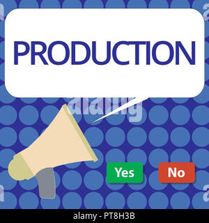 Word writing text Production. Business concept for Action of making or analysisufacturing from components raw materials. - Stock Photo