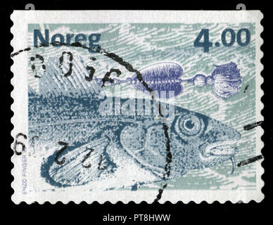 Postmarked stamp from Norway in the Fish series issued in 1999 - Stock Photo