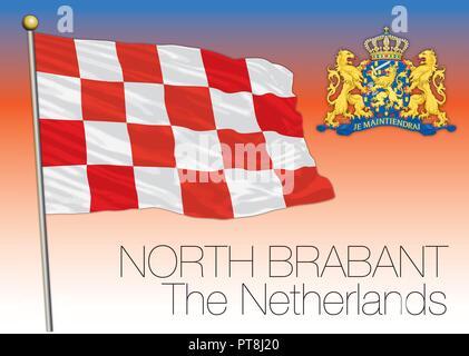 North Brabant regional flag, Netherlands, European Union, vector illustration - Stock Photo