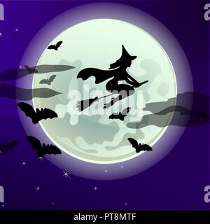 Poster on theme of Halloween holiday party or greeting card with silhouette of a witch flying on a broomstick on the background of the full moon at midnight. Cartoon vector close-up illustration. - Stock Photo