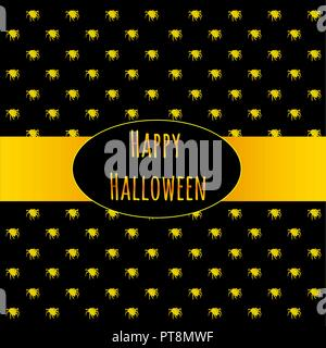 Poster on theme of Halloween holiday party or greeting card with silhouettes of spiders crawling in yellow on a black background. Stylish card with modern design. Cartoon vector close-up illustration. - Stock Photo