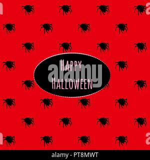 Poster on theme of Halloween holiday party or greeting card with silhouettes of spiders crawling in black on a red background. Stylish card with modern design. Cartoon vector close-up illustration. - Stock Photo