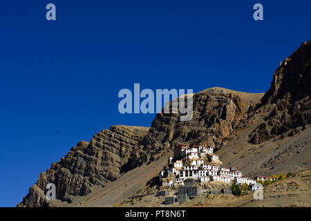 Key Monastery in Spiti Valley, Himachal Pradesh, India. It is the highest monastery in the Spiti region. - Stock Photo